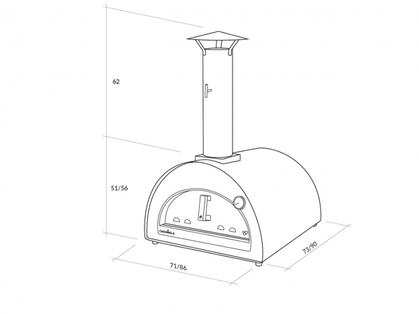 Carawela Pro Wood Fired Ovens: Dimensions