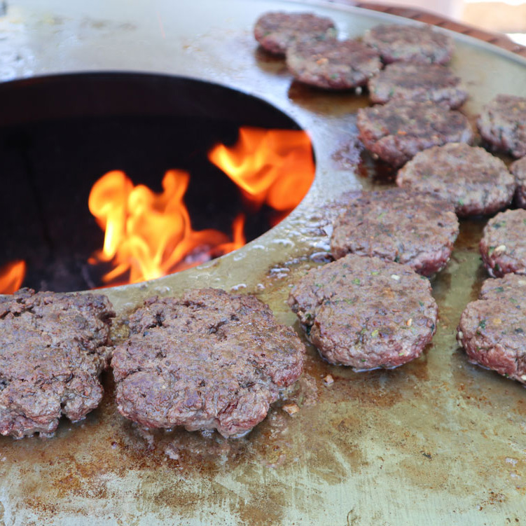 Hamburgers on Doze Plate Grill